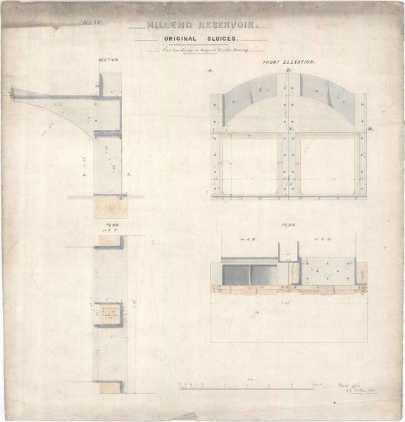 Plan, sections and elevations of the original sluice gates at Hillend Reservoir, Caldercruix
