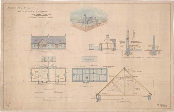 Plan and elevations of the lock keeper's cottages at Kytra Lock on the Caledonian Canal near Fort Augustus