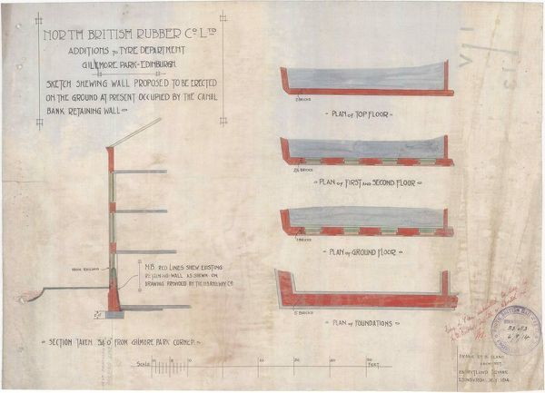 Plan and sections of a proposed wall, part of the additions to the tyre department at the North British Rubber Company's factory at Gilmore Park, Edinburgh. Drawn by Frank Edward Belcombe Blanc, Architect of Rutland Square, Edinburgh