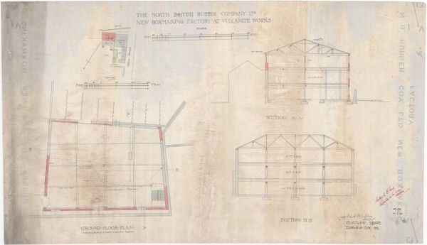 Plan and sections of the North British Rubber Company's proposed boxmaking factory at the Vulcanite Works, Gibson Terrace, Edinburgh. Drawn by Frank Edward Belcombe Blanc, Architect of Rutland Square, Edinburgh