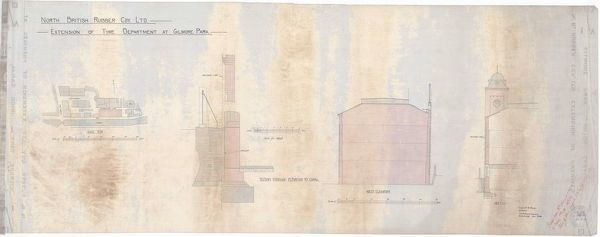 Plan and sections of the proposed extension to the tyre department of the North British Rubber Company's factory at Gilmore Park, Edinburgh. Drawn by Frank Edward Belcombe Blanc, Architect of Rutland Square, Edinburgh
