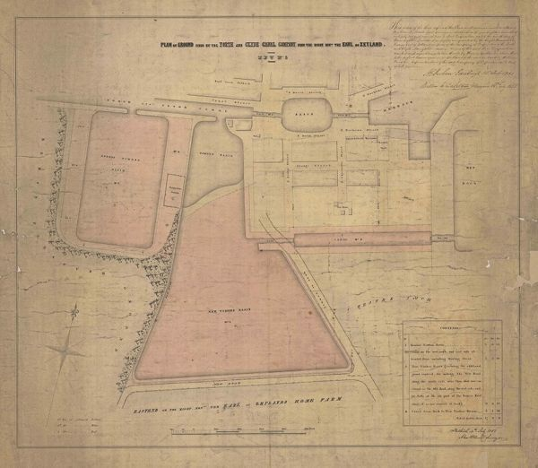 Plan of lands leased to the Forth and Clyde Canal Company by the Earl of Zetland at Grangemouth