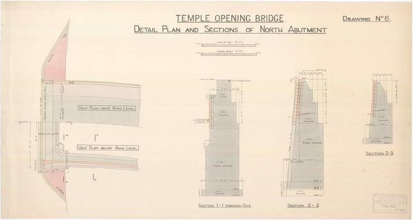 Plan and sections of the north abutment of the opening bridge over the Forth and Clyde Canal at Temple, Glasgow, drawn by Thomas Somers, Master of Works and City Engineer, Glasgow